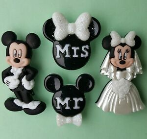 MICKEY & MINNIE WEDDING - Disney Mouse Mr and Mrs Suit Dress It Up Craft Buttons
