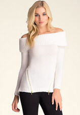 NWT bebe off shoulder ivory white zipper detail long sleeve sweater top L large