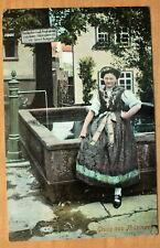 Am Brunnen in  Finsterbergen  Friedrichroda Gotha Arnstadt Tracht 1912
