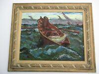 LARGE VINTAGE NAUTICAL OIL PAINTING MYSTERY IMPRESSIONIST FISHERMAN SEA 1950'S