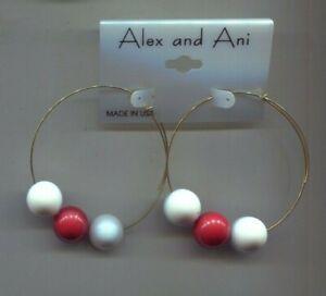 ALEX & ANI RED WHITE  EARRINGS