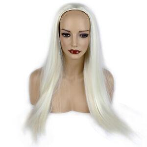 "Ladies 3/4 Half Wig White Blonde Straight 25"" Heat Resistant Synthetic Hair"