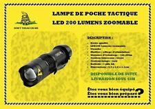 Lampe de poche tactique étanche LED 200 Lumens  puissante zoomable