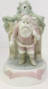 "Holiday Classics 8"" Handpainted Wind Up Music Santa Christmas Tablepiece Vintage"