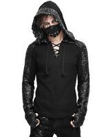 Devil Fashion Mens Dieselpunk Hooded Top Black Gothic Punk Apocalyptic Hoodie