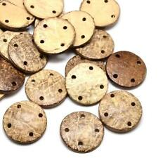 Beige/Brown Coconut Round Buttons 30mm Sew On 4 Holes 10 Pcs Sewing Jewellery