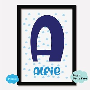Personalised Initial ANY NAME Print Dots Boys Bedroom Nursery Playroom  Baby Art