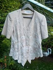 TOGETHER KALEIDOSCOPE EMBROIDERED BEIGE JACKET BLAZER TOP BLOUSE - SIZE 10  NEW