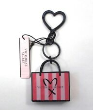 Victoria's Secret Shopper Charm Metal Pinstripe Mini Shopping Bag Keychain Pink