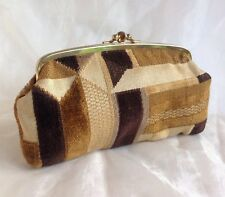 1960s Vintage Clutch Purse Brown Multi Faux Buff Suede Lining Double Sided