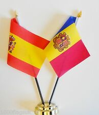 Spain & Andorra State Double Friendship Table Flag Set