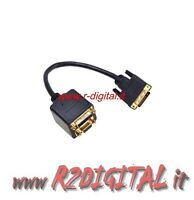 CABLE ADAPTADOR CONVERTIDOR DIVISOR DVI MACHO a DVI + VGA HEMBRA M/H