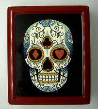 Skull D16 Red Cigarette Case Card Holder Day of the Dead Sugar Skull Candy