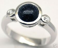 Gorgeous Woman Black Sandstone Silver Ring, S 7.25 #153