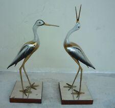2 70'S Chrome & Brass Florentine Italian Herons Signed