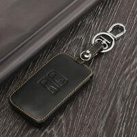 Black Car Leather Key Holder Remote Cover Case For Renault Kadjar 2016 Keychain