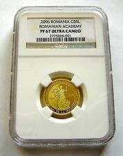 ROMANIA 50 lei 2006 GOLD NGC PF67 ACADEMY OWL  limited edition  35 pieces