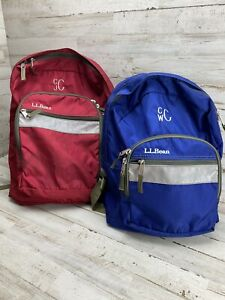 Vintage LL Bean Backpack 90s Bookbag Pack with Reflector Strip Lot Of 2 Red Blue
