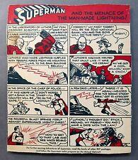 scarce 1940's SUPERMAN & MENACE OF MAN-MADE LIGHTENING Kellogg's Pep Cereal back