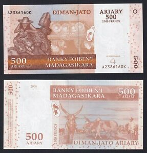 Madagascar 500 ariary on 2500 francs 2004 FDS/UNC  A-049