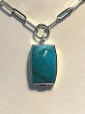 ELLE Modern Turquoise Garnet Sterling Silver Faceted Pendant Necklace Chain 925