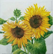 SUNFLOWERS  2 individual LUNCH SIZE  paper napkins for decoupage 3-ply