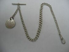 SUPER ANTIQUE SOLID SILVER ALBERT POCKET WATCH CHAIN  T-BAR  CLASP &  COIN FOB