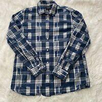 Banana Republic Mens Size L Camden Fit Blue Patterned Long Sleeve Button Shirt