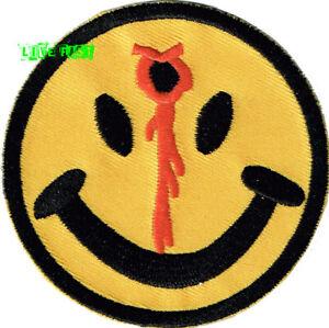 SMILEY FACE BULLET HOLE PATCH GUN SHOT biker motorcycle vest have a bad day