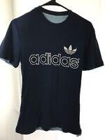 Vtg Adidas 3 Stripe Trefoil T-Shirt S Reversible Spellout Ringer Graphic Logo