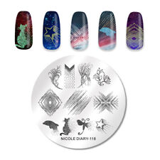 NICOLE DIARY Round Nail Stamping Plate Abstract Dot Nail Art Image Tool ND-118