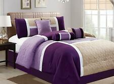 7 Piece Luxury Quilted Patchwork Bedding Comforter Sets, King Size, Purple