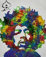 "Abstract Original Jimi Hendrix Portrait Original Painting Collectable Art 14"""