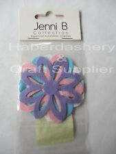 JENNI B FLOWER 4 PRE-CUT PAPER CRAFT *PASTEL STICKY BACK 7051