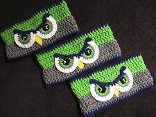 Crochet Ear Warmer with Seahawk Eyes - Adult S/M/L - custom made