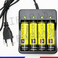 4 PILES ACCU RECHARGEABLE 18650 3.7V BATTERY BATTERIE + CHARGEUR R34