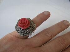 Anello argento 925 e rosa in resina 21 gr SPLENDIDO ELEGANTE