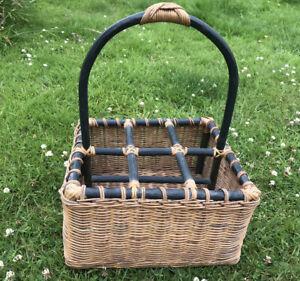 Vintage Wicker Basket 6 Wine Bottles Holder Rack Picnic Hamper Display Bamboo