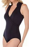 NWT Magicsuit Women's Wrap-Front Open-Back One-Piece Swimsuit Black Size 8