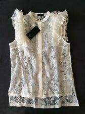 DESIGNER PAUL SMITH Black label Lace Ruffle Blouse, Size 40 UK 8 Rrp £180 NEW