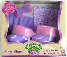 CABBAGE PATCH KIDS SASSY SHOES SET W/UNDIES SOCKS HAIR BOW - PURPLE FUZZY - MIB