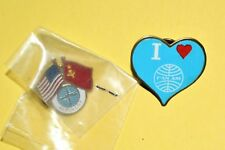 I LOVE PAN AM AIRLINES AEROFLOT RUSSIA USA USSR 2 FLAG UNIFORM SERVICE PIN LOT