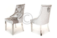 Crushed Velvet Dining Chair Silver Metal Leg Quilted Lion Knocker Free Delivery