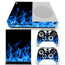 For Xbox One S Console & 2 Controllers Blue Flame Vinyl Skin Decal