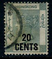 China 1891 Hong Kong 10¢/30¢ Grey Green QV SG #48a VFU J639 ⭐⭐⭐⭐⭐⭐