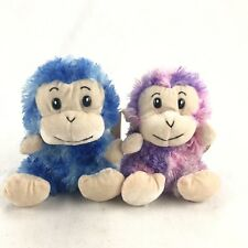 Calplush Set Of Monkey Plush Toys Brand New With Tags Blue Pink Purple