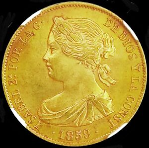 SPAIN 1859 ☆ BARCELONA 100 GOLD REALES ☆ CHOICE UNC NGC MS-63 ☆  MAGNIFICENT ☆