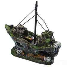 Resin Pirate Ship Sunk Sailing Boat Aquarium Decoration For Fish Tank landscape