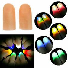 LED Magic Light Up Silicone Thumb Props Fingers Trick Lights Prank Novel 2pcs