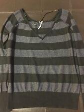 Free People Black Gray Sweater Size Small Petite